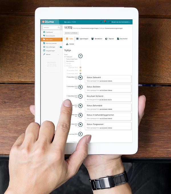 De tijdlijn van Djuma Zaaksysteem op een iPad Pro.